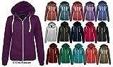 CEXI Couture Neu Damen Einfarbig Reißverschluss Kapuzen Sweatshirt Damen Fleece Jacke mit Kapuze Größe 6-20