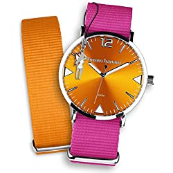 Bruno Banani Damen, Herren Armbanduhren Set Quarz-Uhr + Textil/Nylon-Armband pink, orange + Fee-Anhänger UBRS68OR