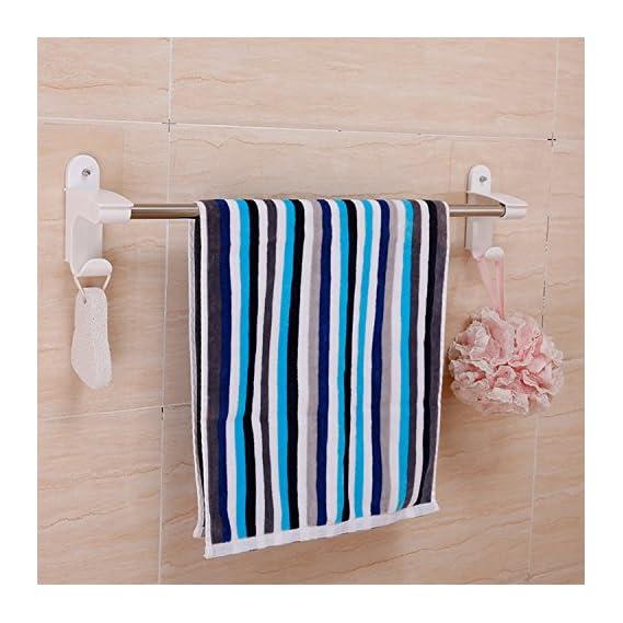 HOKIPO Magic Sticker Series Self Adhesive Bathroom Towel Hanger With 2 Hooks