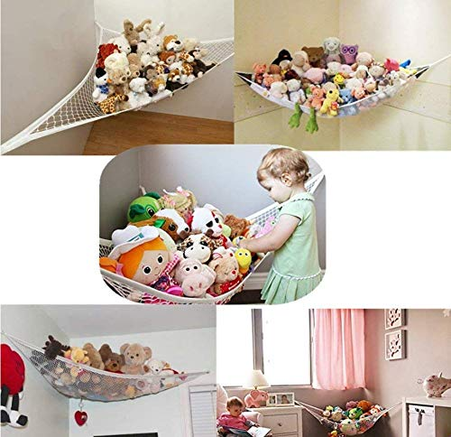 "LINSUNG Teddy Keep Baby Very Suitable for Kindergarten can be Used for Plush Toys Large Hammock Children Bedroom Neat mesh Storage Play Corner Giant Hammock Black LINSUNG color:Pink,DIMENSIONS - L140cm x W100cm / L55"" x W39"" (approx) Store your childs toys safely up and out of the way CONVENIENT STORAGE - Great storage solution for any room in your house 3"