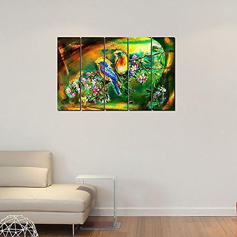 999store Digital bedruckt laminiert Holz gerahmt mehreren Rahmen bedruckt Vögel auf Baum Stiele indischen Kunst Platten wie Malerei–5Frames
