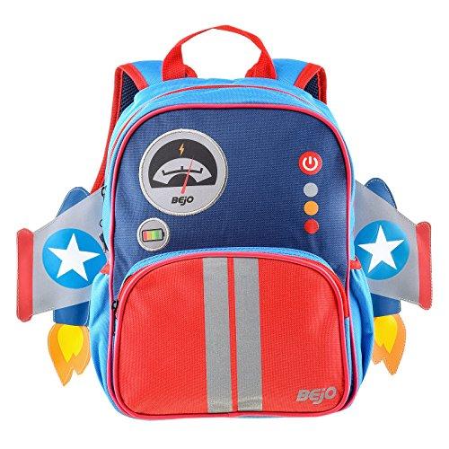 Bejo Rucksack Kindergarten Tasche für Kinder - Reflektierende Elemente - Leicht und bequem - lustiges Design - Schoolpuffy-SS18, Rakete, 10L
