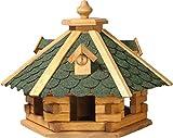 dobar 98720e Rustikales Vogelfutterhaus im Blockhaus-Stil mit grünem Bitumendach, Vogelhaus mit 6 Einfluglöchern,...