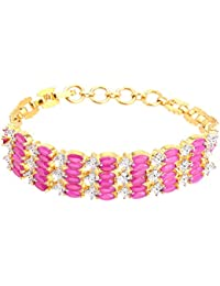 Zephyrr Fashion Gold Tone Bracelet With American Diamond For Girls And Women