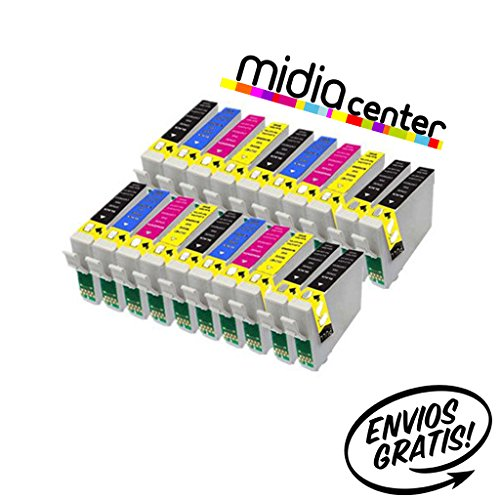 MIDIACENTER - 20 Cartuchos compatibles de tinta T1285 para Impresora Epson Stylus S22 SX125 SX130 SX420W SX425W SX445W BX305F BX305FW SX230 SX235W SX445W SX435W SX430W SX438W SX440W