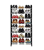 #3: Virtual World Shoe Rack Modern 8 Layer Metal Book Rack Storage Cabinet Best Fold-able Movable Organize Black Multipurpose good (Black)