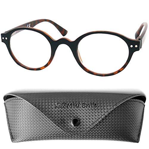 Designer Lesebrille Professorenbrille mit runden ovalen Gläsern - mit GRATIS Brillenetui, Vintage Retro Stil Kunststoff Rahmen (Leopard Braun), Lesehilfe Herren und Damen +1.5 Dioptrien
