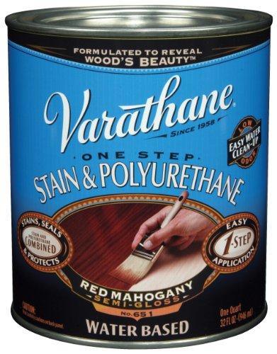 Rust-Oleum VARATHANE One Step Stain & Polyurethane for Interior Furniture & Wood Polish, Water Based, RED MAHOGANY, 946 ml