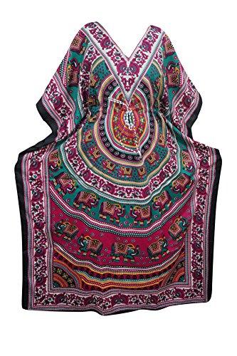Indiatrendzs Womens Kaftans Animal Print Light Viscose Kimono Kaftan Dress Evening Wear 56
