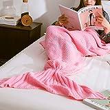 Baby Pig Meerjungfrau Decke Handgemachte häkeln Meerjungfrau Flosse Gestrickte Strickmuster Warm und Weich Meerjungfrau Schwanz Schlafsack Blanket für Erwachsene. (190*90, pink)