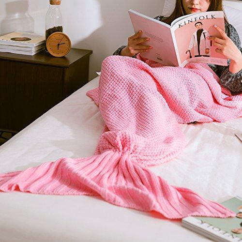 Preisvergleich Produktbild Geschenk für Mädchen Frauen, Wuiyepo Meerjungfrau Decke für Cosplay, Wrap Decke Fancy Dress Schlafsack, Schlafende Tasche, Klimaanlage Schlafsack (Rosa)