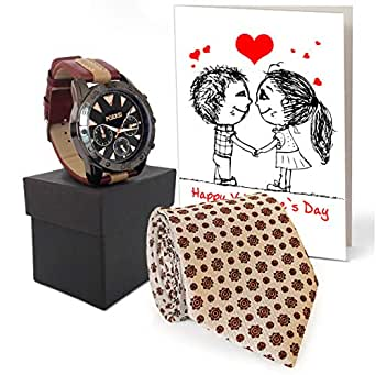 TIED RIBBONS Valentine day Gift for Husband, Boyfriend, Him Analog Wrist Watch, Men's Tie with Greeting Card