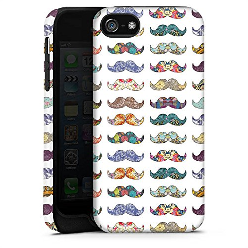 Apple iPhone X Silikon Hülle Case Schutzhülle Schnurrbart Hipster Muster Tough Case matt