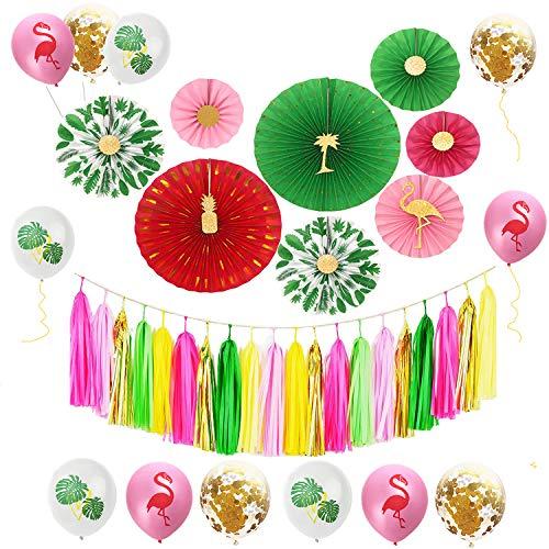 Sayala Hawaiian Beach Party Dekoration,Tropischen Sommer Hängende Papierfans,Rosa Gold Tassel Garland Bunting Banner und Latex Party Ballons Pack