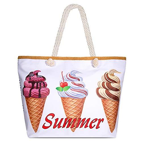Comius Große Strand Segeltuch Reise Einkaufstasche, Damen Shopping Shopper Tasche Reisetasche Canvas Schultertasche - perfekte Einkaufstasche Für Feiertage (11) (Canvas Strand Tasche)
