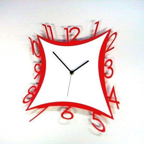 Horloge murale en métal laqué Numbers cm 50 x 50 blanc et rouge – Cadran solaire 237 – 100% Made in Italy