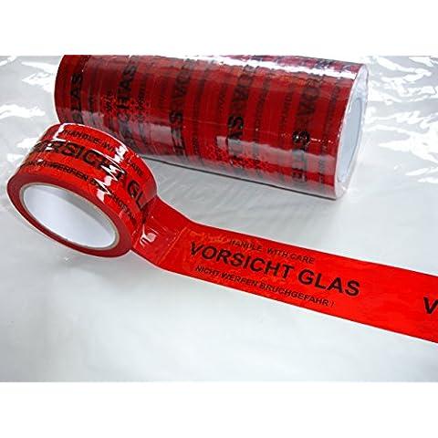 Rotoli di nastro adesivo da pacchi, con testo in tedesco: Vorsicht Glas, Fragile, in vetro, confezione da 6, dimensioni di ogni rotolo, 50 x 66 mm - Vetro Fragile Vetro