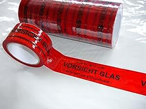 6x packband paketband klebeband vorsicht glas je rolle 50mmx66m baumarkt. Black Bedroom Furniture Sets. Home Design Ideas