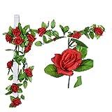 Künstlich Rose Blatt Efeu Girlande Blumen Dekoration (Rot)