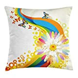 tgyew Butterfly Throw Pillow Cushion Cover, Colorful Fantasy Composition with Rainbow Flowers Dots Spring Inspired Festive, Decorative Square Accent Pillow Case, 18 X 18 Inches, Multicolor