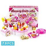 BeesClover 73 Pcs Juguete Educativo de Niños DIY Juego de Imaginación Corte de Fruta Torta Tarta de Fresa de Cumpleaños Cocina Comida Regalo para Niños