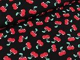 Quality Textiles Baumwollpopeline Kirschen rot auf Schwarz