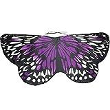 OverDose Damen Karneval Cosplay Stil Frauen Böhmischen Schmetterling Print Schal Pashmina Kostüm Zubehör Schlank Mode Flügel Schal
