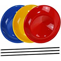 3 Juggling Plates with 3 Wooden Sticks or 3 Plastic Sticks, Mixed Colours sold by SchwabMarken