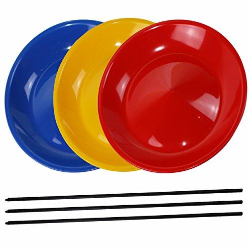 SchwabMarken Platos chinos con palo de plástico - Varios colores - 3 unidades
