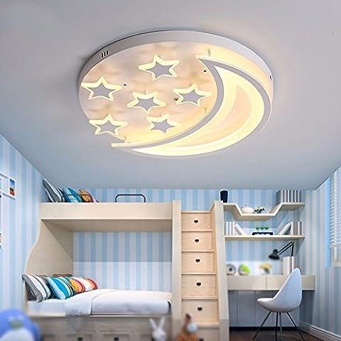 GZLight Moderne und einfache LED-Deckenleuchte Acryl Schlafzimmer Dekor der Zimmer Kinder Sterne Mond weißes Licht 40 cm