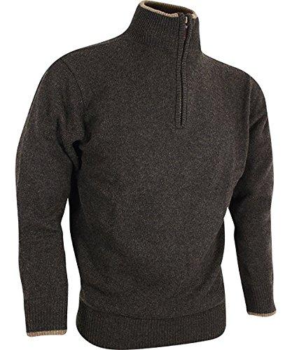 V-Ausschnitt grün Schießen Pullover bestickt Fasan Logo Motiv Jagd Jumper