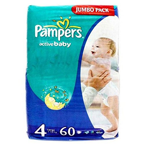PAMPERS ACTIVE BABY DIAPERS (4) - LARGE - 60 (7-18KG) (UAE)