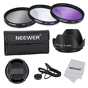 Neewer® 67mm Objektiv-Filter-Profi Zubehörsatz für Canon Nikon Sony Pentax Samsung Fujifilm und andere DSLR-Kamera-Objektive mit Filtergewinde - Mit Filtersatz (UV, CPL, FLD) + Filter + Trage Tasche Tulpe-Blumen-Streulichtblende + Schnapp- Objektivdeckel mit Kappen Halter Leine + Objektiv-Reinigungstuch (67MM)
