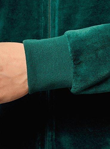 oodji Ultra Damen Kapuzenpullover mit Reißverschluss Grün (6E00N)