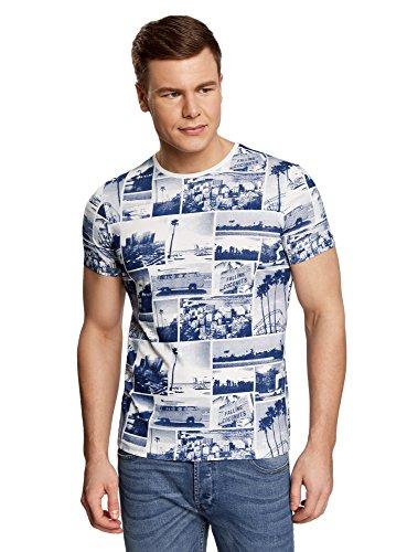oodji Ultra Herren Bedrucktes Baumwoll-T-Shirt, Weiß, XS