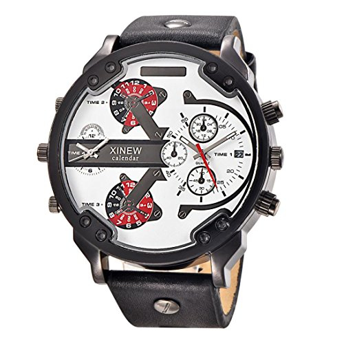 Rcool 2018 Edelstahl Uhr Leder Datum Analog Quarz militärischen Armee Dual Time Quarz große Zifferblatt Armbanduhren,schwarz (D) -