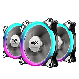 RGB Ventola PC 120mm, AIGO Ventola di Raffreddamento CPU LED 4 Pin Silenziosa Cooling Fan Bassa Rumorosità e Elevata Pressione Statica Computer Case Fan con 42 Generi LED (3-Pack)