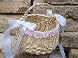 Blumenkinderkörbchen natur, mit Rüschen und Satin, rosa, Blumenkinderkorb Streukörbchen zur Hochzeit