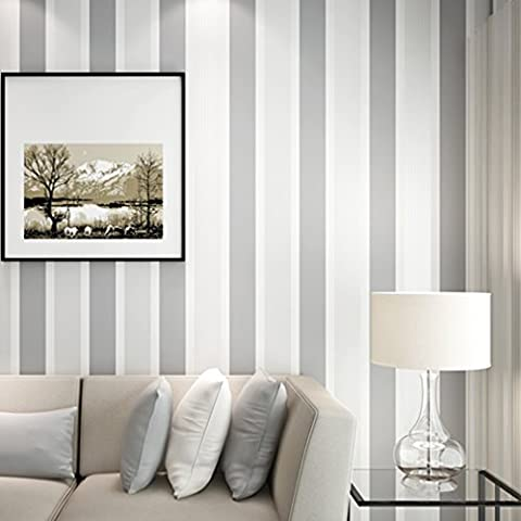 ARUHE - 10m Elegante 3D Papel Pintado a Rayas Decorativo del No-tejido Papel de Pared Pintado, Color gris