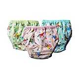 #6: Wonder Star Premium Quality Multicolor Reusable Dippers pants for new born baby. Outside Printed PVC plastic Waterproof Cotton inside. Diaper/Langot for 0-6 Months babies Pack Of 3Multicolor. (Assorted Mix color & Design) (0-6 months)