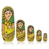 Fine Craft India Set Of 5Pcs Hand Painted Cute Wooden Russian Matryoshka Stacking Nested Wood Dolls Yellow