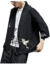 Mirecoo Herren Baumwolle Haori V-Kragen Kimono-Jacke