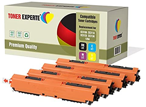 Set of 4 TONER EXPERTE® Compatible with HP 126A CE310A CE311A CE312A CE313A Premium Toner Cartridges Replacement for HP Colour Laserjet CP1025 CP1025nw CP1020 M175a M175nw Pro 100 M175 MFP M175a M175nw M275 TopShot