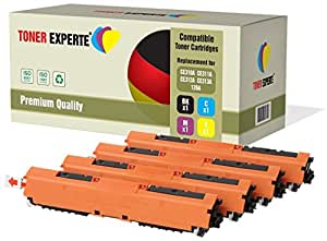 Set of 4 TONER EXPERTE® Compatible with HP 126A CE310A CE311A CE312A CE313A Premium Toner Cartridges Replacement for HP Colour Laserjet CP1025 CP1025nw CP1020 M175a M175nw Pro 100 M175 MFP M175a M175nw M275 TopShot M275