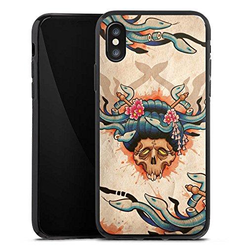 Apple iPhone X Silikon Hülle Case Schutzhülle Tattoo Totenkopf Schädel Silikon Case schwarz