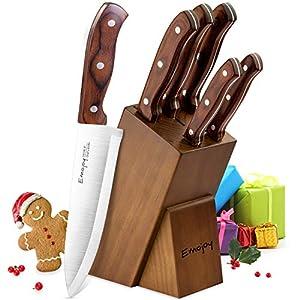 Emojoy Messerblock, 6-TLG Messerset mit Block, Holzgriff Küchenmesser aus...