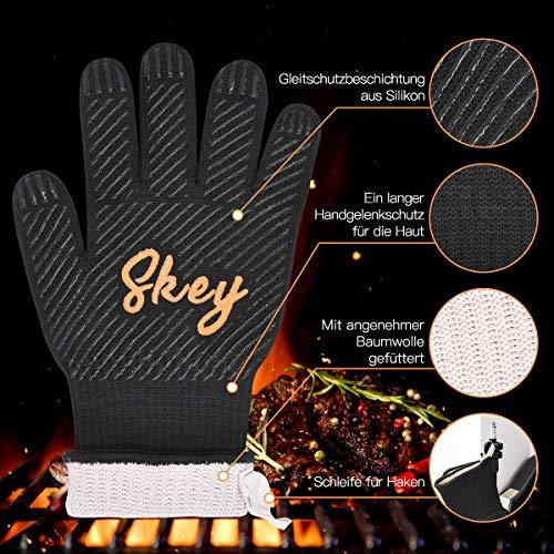 51HuJNdMERL - SKEY Grillhandschuhe Ofenhandschuhe Grill Handschuhe zubehör Hitzebeständige bis zu 800 ° C Universalgröße Kochhandschuhe Backhandschuhe für BBQ Kochen Backen und Schweißen-Klassisch Schwarz