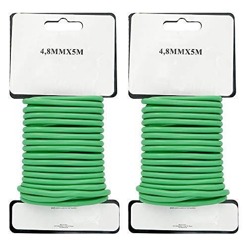 2 x 8 m Vert Plante Twist Tie Jardin souple Cravate recouvert de plastique, 3,5 mm
