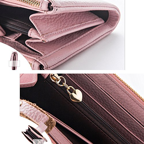 Artemis'Iris Womens Genuine Leather multifunzione Portafoglio Zipper carte della frizione del supporto del telefono dell'organizzatore della borsa, rosa grey