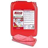 10,0 L Kanister Sanitärreiniger - Kalklöser - WC Entkalker - Urinsteinlöser | inkl. hochwertigen Profi-Microfasertuch Rot